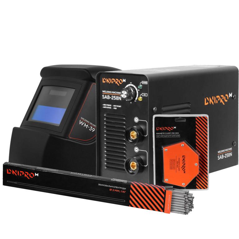 Сварочный аппарат IGBT Dnipro-M SAB-258N + Маска сварщика WM-39 + Магнитный угольник MW-3414 + Электроды