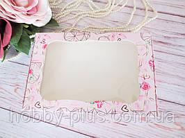 Коробка для изделий ручной работы с окном, 100х150х30 мм, цветочный принт (сердечко), 1шт