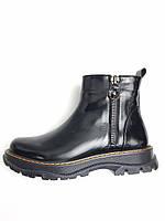 Черевики зимові жіночі шкіряні чорні термо. Ботинки зимние женские кожаные чёрные термо.