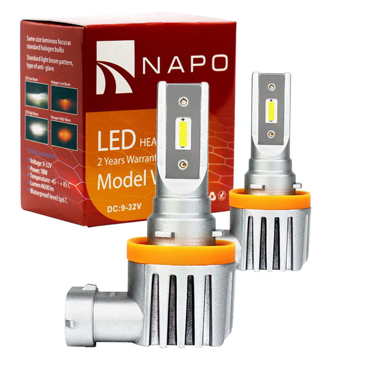 Лампа светодиодная NAPO Model V  H8 4600 Lum, цвет свечения белый, 2 шт/компл. Гарантия 2 года