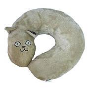 Подушка-кот, под шею, бежевая