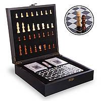 Шахматы, домино, карты 3 в 1 набор настольных игр деревянные,  черный