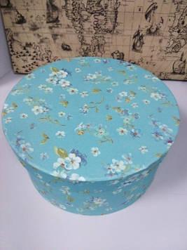 Подарочная коробочка круглая с рисунком цветы 16.5 см 22.5 см