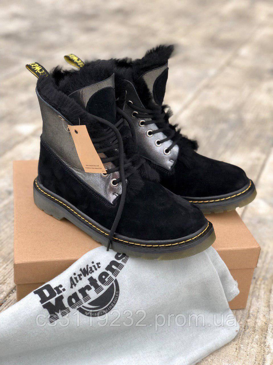 Женские ботинки зимние Dr.Martens (мех) (черный)