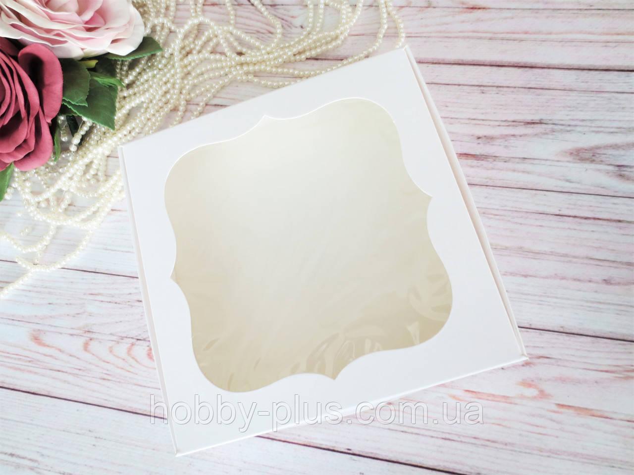 Коробка для изделий ручной работы с окном, 150х150х30 мм, цвет белый, 1шт
