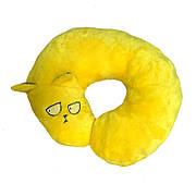 Подушка-кот, под шею, желтая