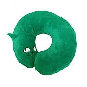 Подушка-кот, под шею, зеленая