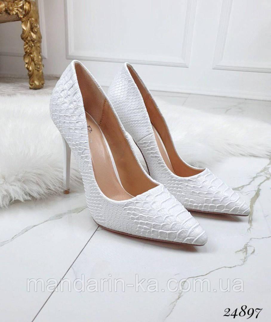 Туфли  женские  белые под  рептилию  шпилька  10 см