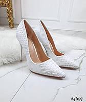Туфли  женские  белые под  рептилию  шпилька  10 см, фото 1