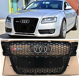 Решетка радиатора Audi A5 8T (07-11) дорестайл стиль RS5 (черный глянц)