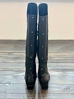 Женские  черные демисезонные сапоги из натуральной кожи на небольшом каблуке  Dolce Vita, фото 1