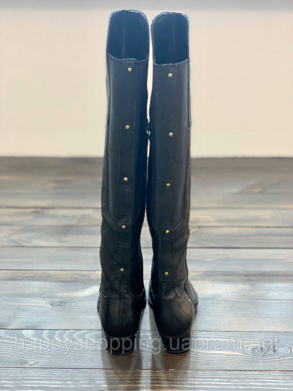 Женские  черные демисезонные сапоги из натуральной кожи на небольшом каблуке  Dolce Vita