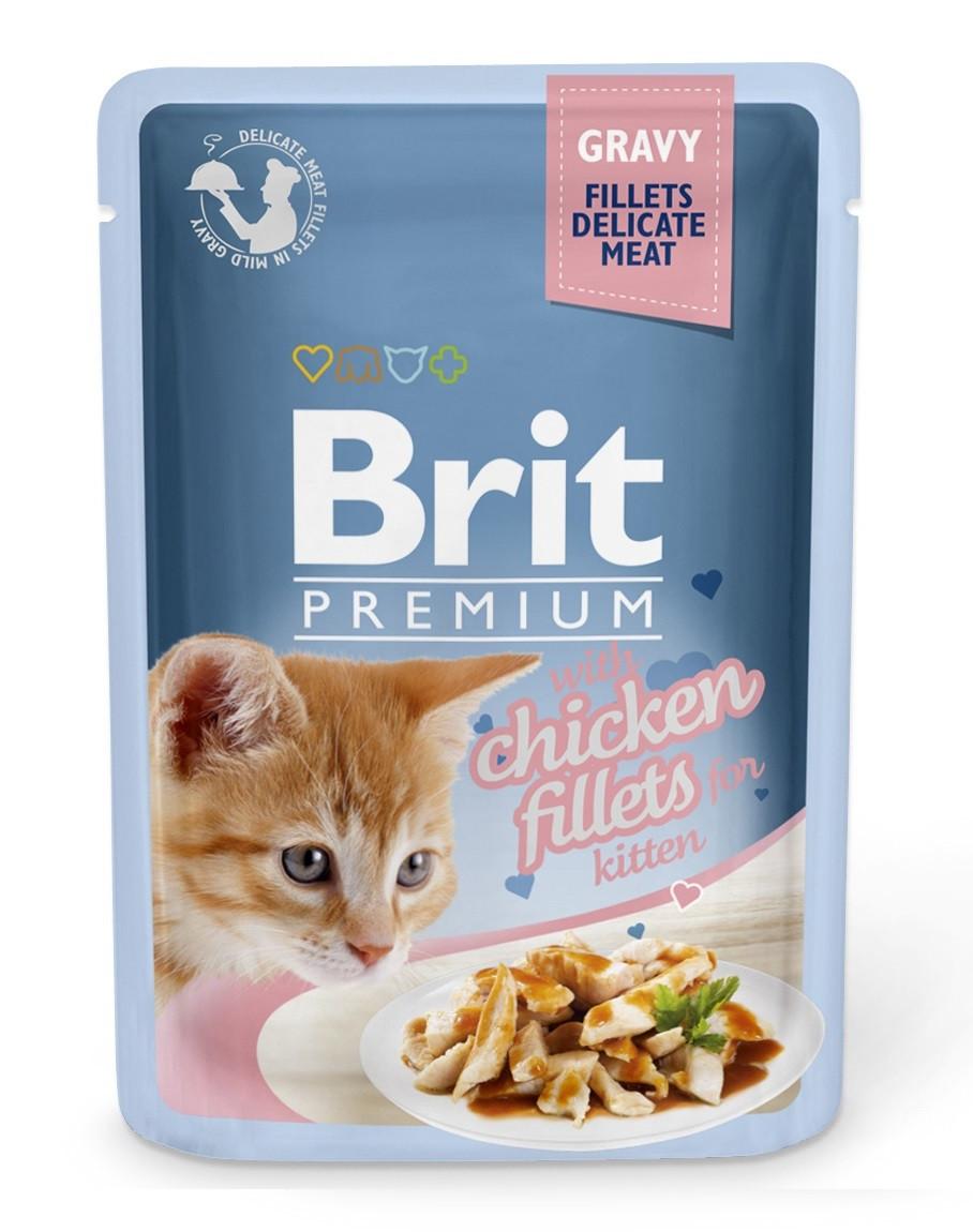 Влажный корм для котят Brit Premium филе курицы в соусе 85 г