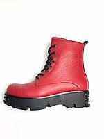 Черевики зимові жіночі шкіряні червоні термо високі платформа. Ботинки зимние женские кожаные красные термо вы