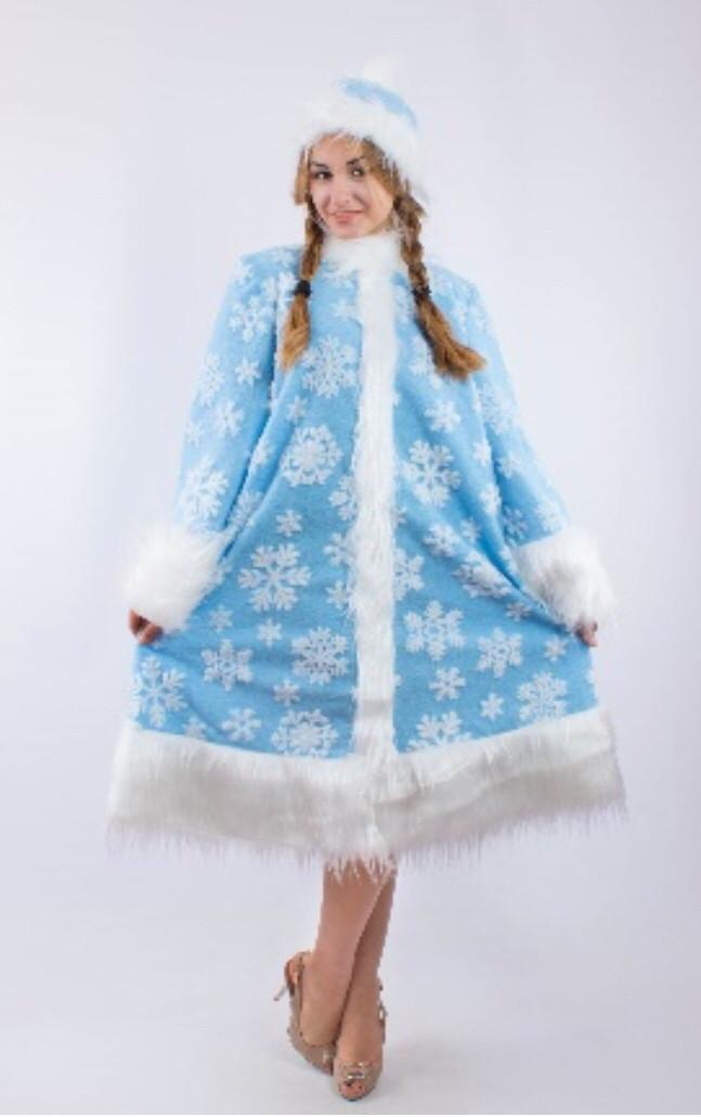 Карнавальный костюм снегурочки голубая с узором