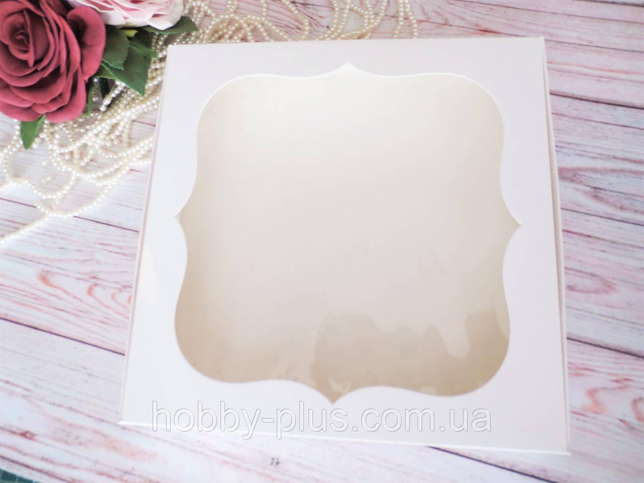 Коробка для изделий ручной работы с окном, 200х200х30 мм, цвет белый, 1шт