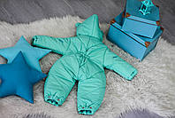 Комбинезон-трансформер Ушки с отстегивающим мехом (мята с голубым), фото 2