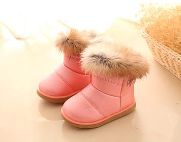 Детские зимние ботинки для девочки Детские ботинки с мехом для девочки Розовые зимние сапоги