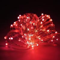 Гирлянда Капельки Росы 100 лампочек Красная 1000 см, прозрачный провод, от сети (1275-05)