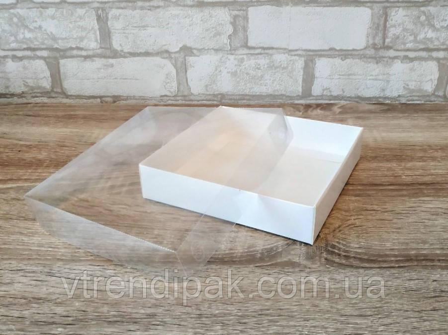 Коробка для пряника  160*160*35 з прозорою кришкою ПВХ Біла