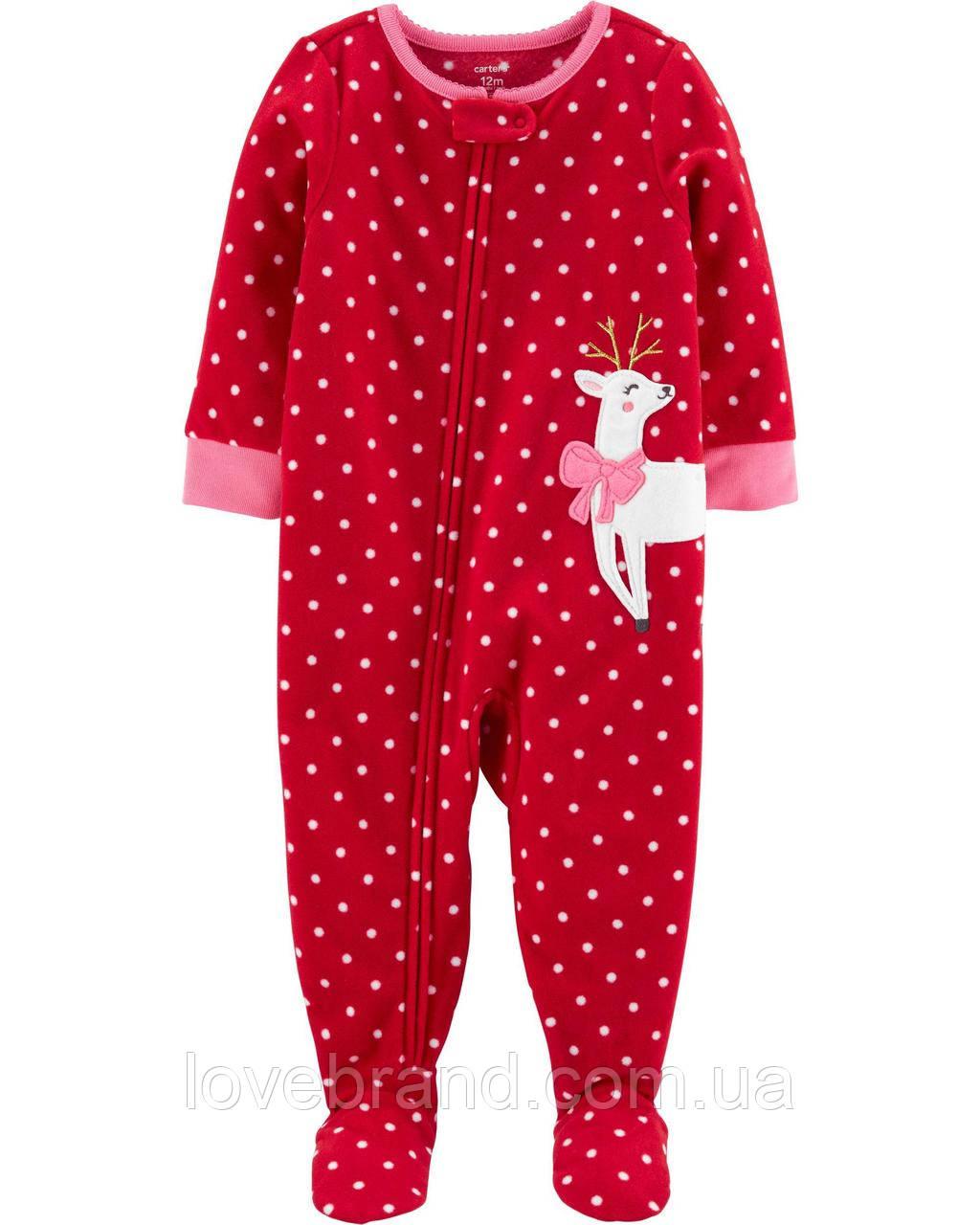 """Флисовый слип для девочки Carter's """"Олень"""" красная флисовая пижама новогодняя 4Т/98-105 см"""
