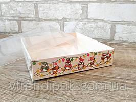 """Коробка для пряника 160*160*35 """"СОВИ"""" з прозорою кришкою ПВХ"""