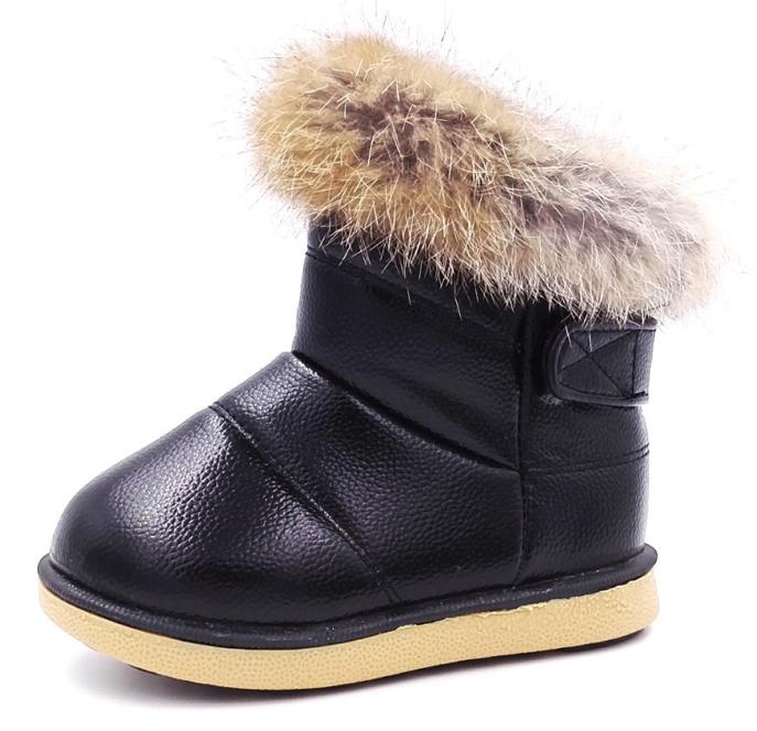 Детские зимние ботинки для девочки Детские ботинки с мехом для девочки Черные детски ботинки с мехом