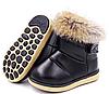 Детские зимние ботинки для девочки Детские ботинки с мехом для девочки Черные детски ботинки с мехом, фото 2
