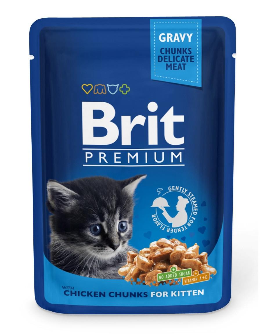 Вологий корм для кошенят Brit Premium з куркою в соусі 100 г