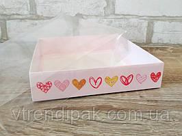 """Коробка для пряника 160*160*35 """"Сердечки"""" з прозорою кришкою ПВХ"""