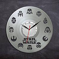 Серебряные часы Виниловые часы Звездные Войны Круглые часы в комнату Декор детской комнаты Арт дизайн 300 мм