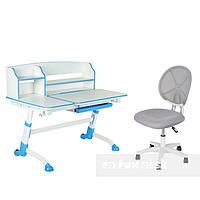 Детская парта-трансформер  FunDesk Amare II Blue+ Компьютерное кресло  LST1 Grey