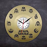 Часы в цвете золота Звездные Войны Часы с винила Круглые часы в комнату Декор детской комнаты Арт дизайн