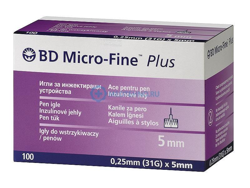 100 шт-Иглы BD Microfine 31G (0,25х5 мм) для инсулиновых шприц-ручек .