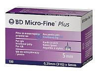 100 шт-Голки BD Microfine 31G (0,25х5 мм) для інсулінових шприц-ручок .