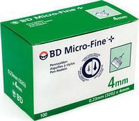 100 шт-Голки BD Microfine 31G (0,23х4 мм) для інсулінових шприц-ручок .