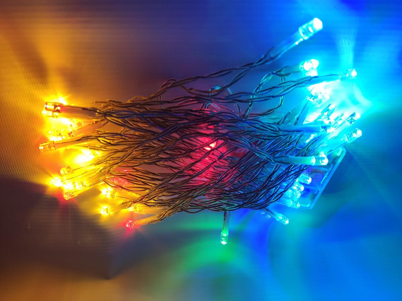 Светодиодная гирлянда 3 метров на батарейках мультицветная