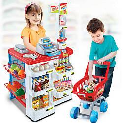 Дитячий супермаркет 668-01 з касою, візком і сканером ( звук, світло ) Червоний