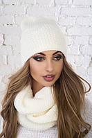Стильный, головной набор шапка и снуд - восьмерка, цвет белый-молоко
