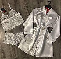Белый кружевной комплект белья+атласный халат.