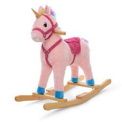 Детская качалка Единорог MP 1889 плюшевая розовая игровая лошадка