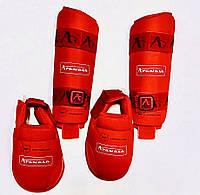 Захист для ніг (гомілка+фути) ARW червона розбирається WKF розмір XL для єдиноборств, фото 1
