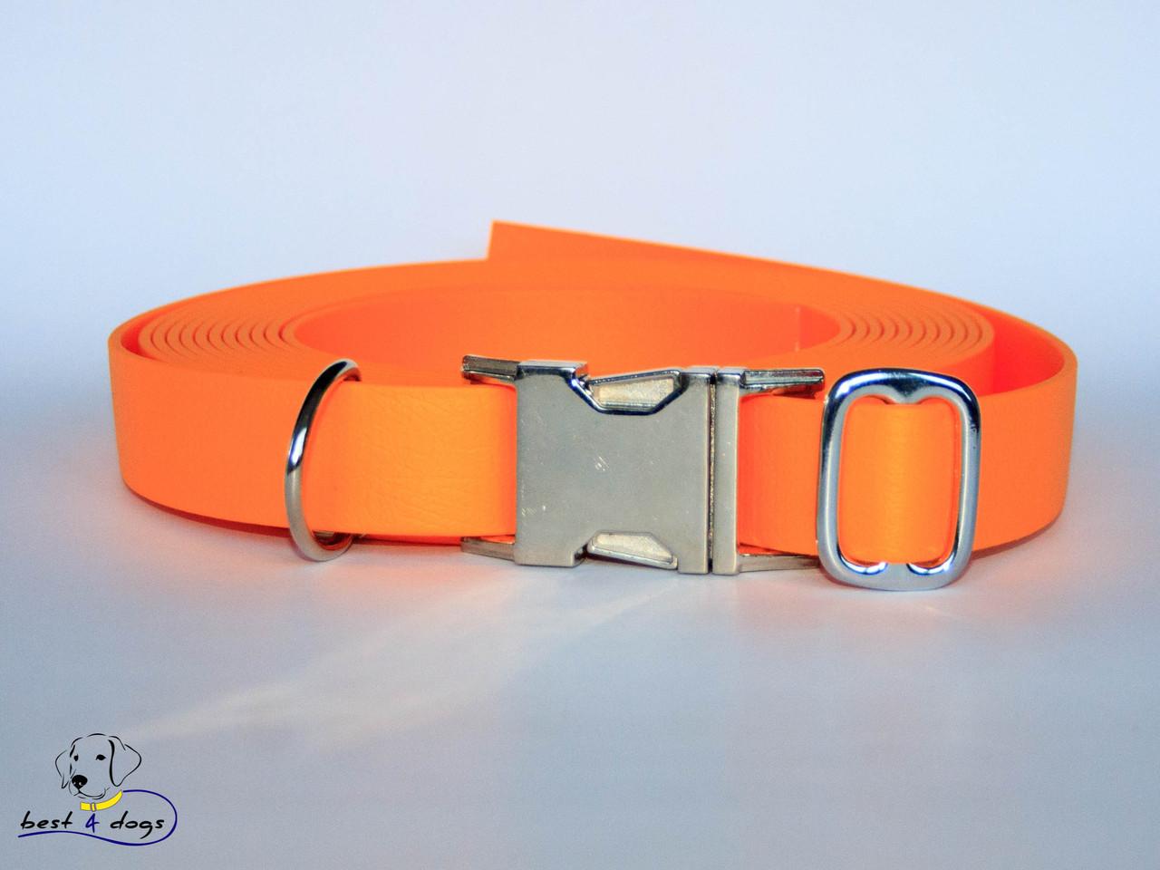 Ошейник из биотана, Оранжевый Пастельный, 19мм(метал.фастекс)