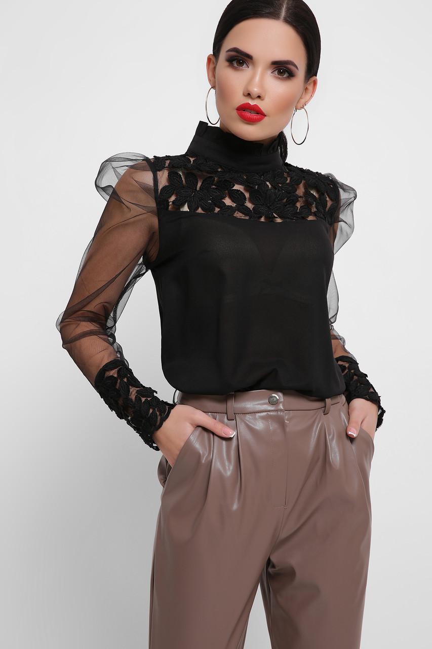Женская блуза черная Соломея д/р