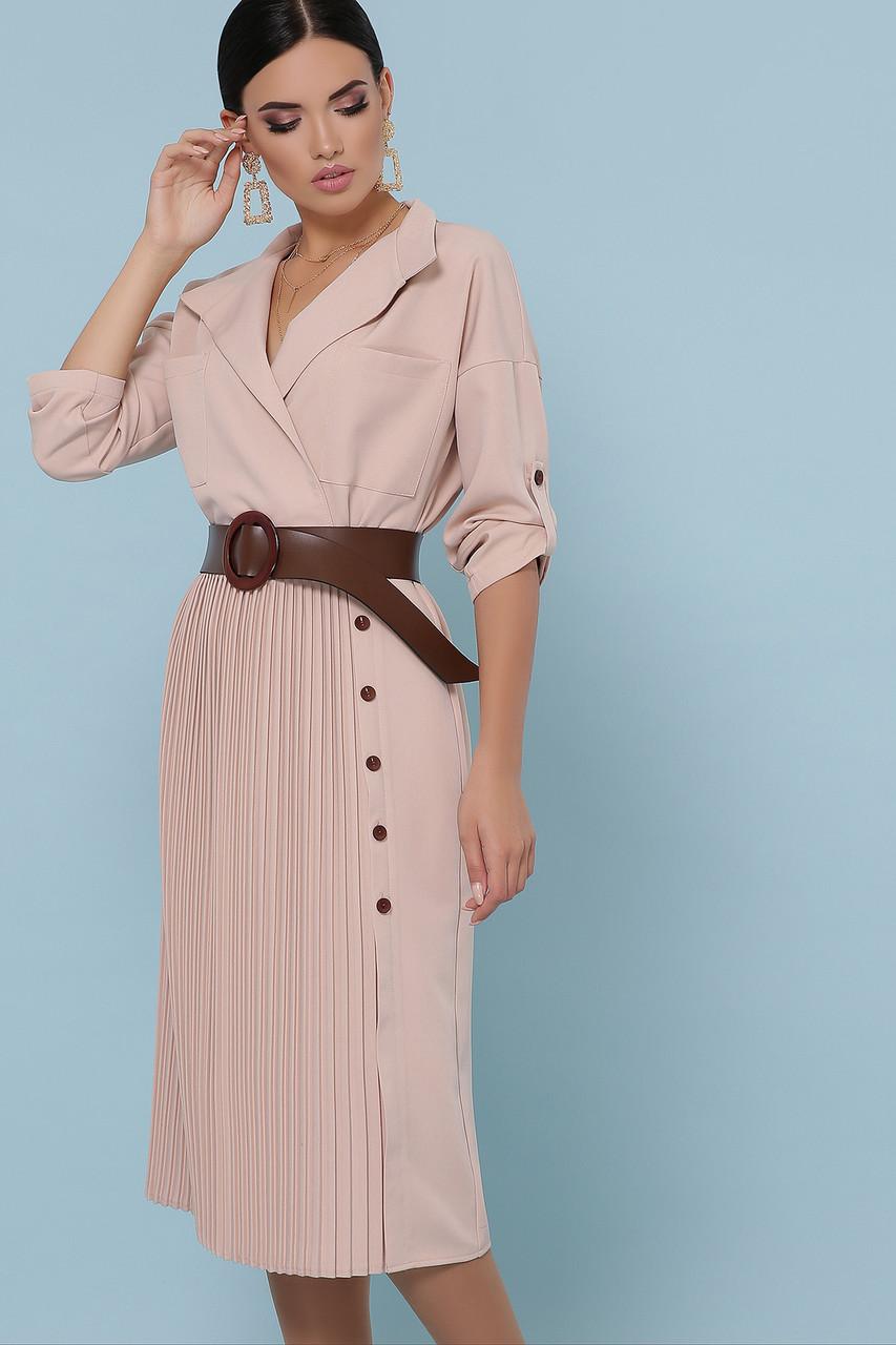 Женское бежевое платье с юбкой плиссе Заира д/р