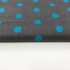 """Польская хлопковая ткань """"Горох голубой на сером 7мм"""", фото 2"""