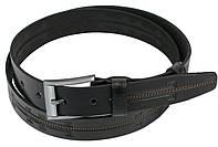Мужской кожаный ремень для брюк Skipper 1257-33 черный 3,3 см