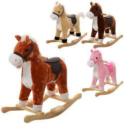 Качалка детская лошадка MP 0081 плюшевая игрушка со звуковыми эффектами