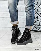 Зимние спортивные ботинкина обьемной подошве черные
