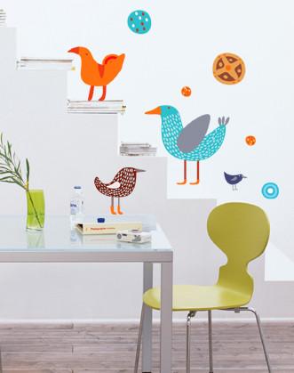 """Дитячі наклейки на стіну """"Веселі пташки"""""""